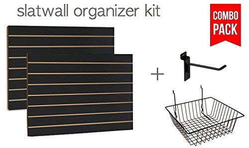 Black Slatwall Panels Organizer Kit - Includes (2) - 24