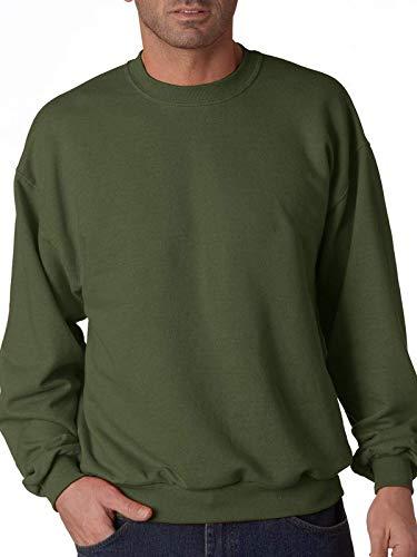 (Jerzees mens 8 oz. 50/50 NuBlend Fleece Crew(562)-MILITARY GREEN-M)