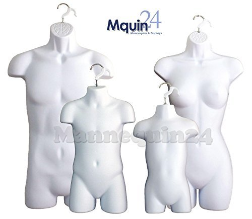 White Female Dress Male Child And Toddler Set - 4 Body Mannequin Forms by Mannequin24