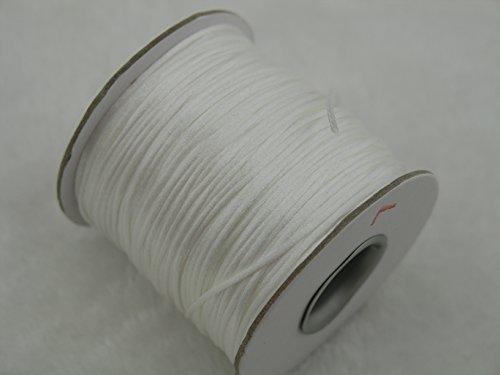 (KONMAY 80 Yards 1.0MM Rattail/Bugtail Satin Silk Cord Shamballa Macrame Beading Nylon Kumihimo String (White 800))