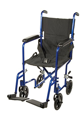 (Drive Medical Deluxe Lightweight Aluminum Transport Wheelchair, Blue, 17