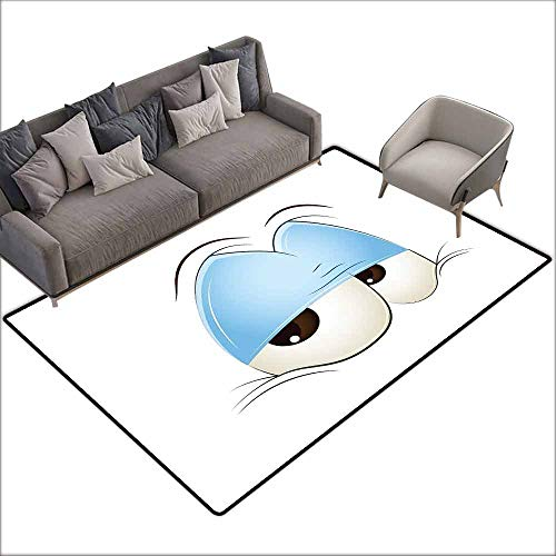 - Anti-Slip Outdoor Rugs Eye,Comic Eyes Just About to Fall Asleep Tired and Lazy Character Look,Pale Blue Dark Brown Coconut 48