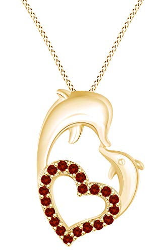 AFFY Round Shape Simulated Garnet Mom and Child Dolphin Heart Pendant Necklace in 14k Yellow Gold Over Sterling Silver