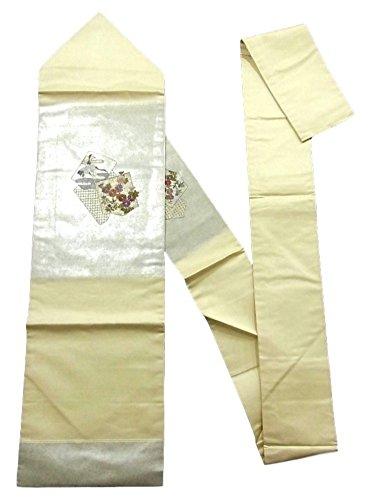 ポーズ衝突期限リサイクル 名古屋帯  刺繍 鶴に秋草文 正絹