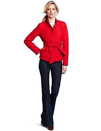 Tommy Hilfiger Women's Quilted Barn Jacket, Apple Red, Small