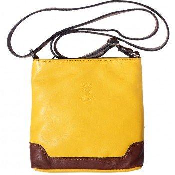 Italian Soft Leather Shoulder Bag - LaGaksta Mini Very Soft Italian Leather Shoulder Crossbody Bag/Yellow-Brown