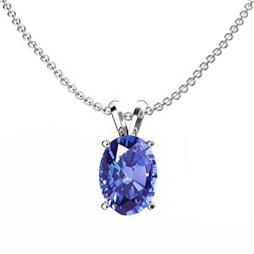 (Dazzlingrock Collection 14K 8x6 mm Oval Cut Tanzanite Ladies Solitaire Pendant (Silver Chain Included), White Gold )