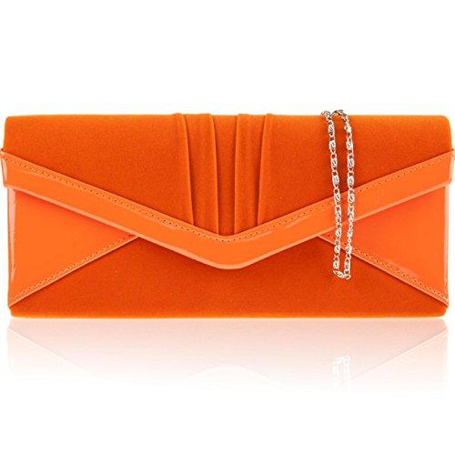 Donna in finto scamosciato, a frizione busta, motivo: borsetta da donna, per abiti da sera Arancione (arancione)