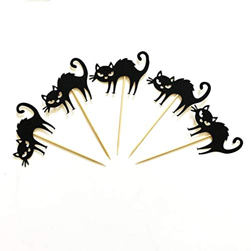 AIkong 5pcs Halloween Little Black Cat Cake Toppers Halloween Cupcakes Flags -