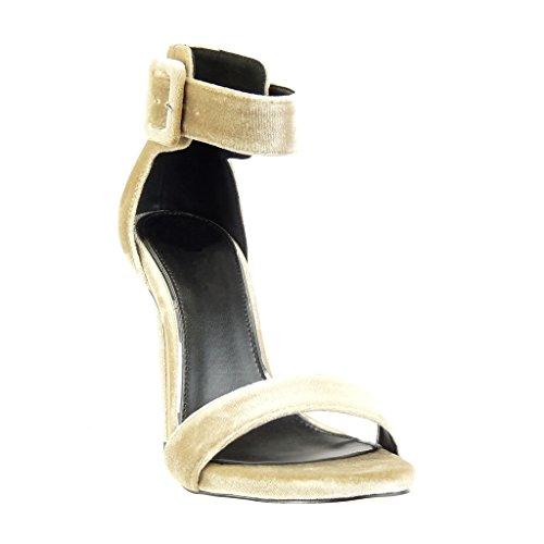 Haut Angkorly Boucle Beige Stiletto Sandale Talon Sexy Chaussure Femme 11 Escarpin Mode Aiguille Lanière cm v8Urv