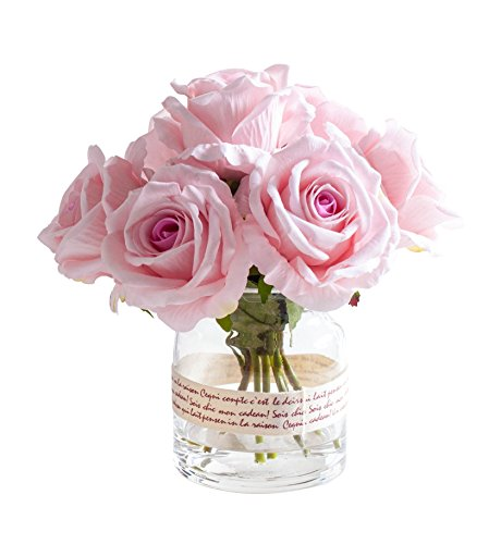 Fudostar Artificial Silk Roses and Simulated Water in Transparent Glass Vase Wrapped with Braid, Handmade Flower Arrangement, Natural Looking, Simple and Elegant (Pink)