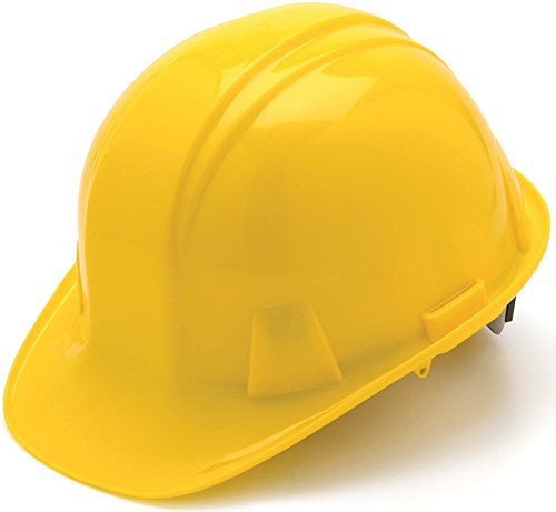 Pyramex Safety SL Series Cap Style Hard Hat, 4-Point Snap Lock Suspension, Yellow - Hard Hat Helmet
