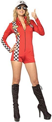 Secret Wishes Women's Red Racer Adult Romper Costume, Multicolor, Small]()