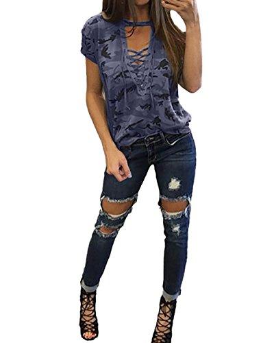 T Ragazza Camouflage Maglietta Lunga Casual Manica Styledome Donna Corta Grigia Nuovo Maglia shirt V Collo xXwPY