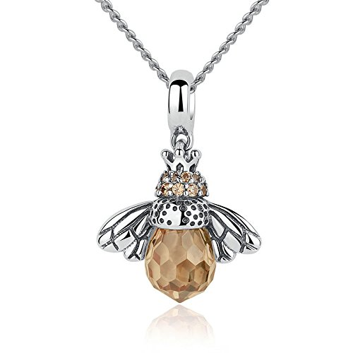JustM Genuine 925 Sterling Silver Cute Honey Bee Yellow Crystal Charm Pendant for Women, NO Chain (925 Honey Sterling Silver)