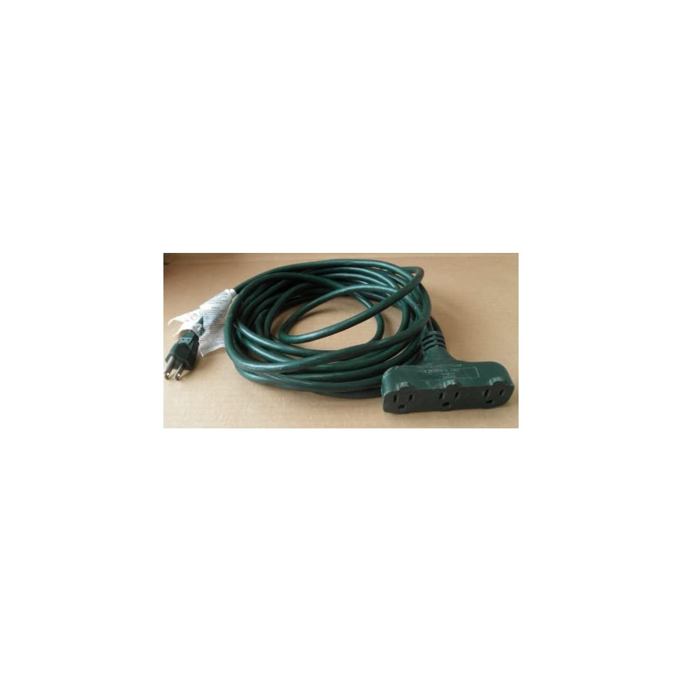 22ft Outdoor Extension Power Cord   Triple Tap   Green   KAB2FE