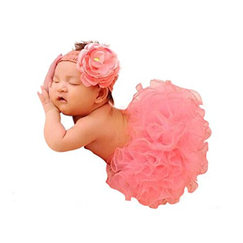 CX-Queen® Baby Photography Prop Infant Lovely Costume TuTu Dress Flower Headband Set (Baby Costumes Girl)
