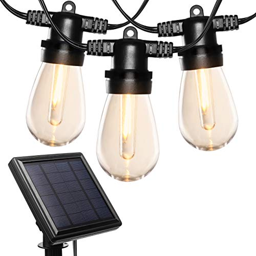 Price comparison product image LITOM 27ft Solar String Lights Outdoor 4 Lighting Modes Solar Powered IPX5 Waterproof Decorative Hanging Dimmable LED String Lights with 12 Bulbs for Backyard Party Wedding Christmas Garden