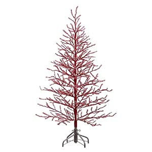 5'Hx40 D Tinsel Tree x368 on Metal Stand Antique Silver 100