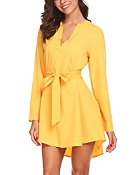 Se Miu Women High Low Long Sleeve V Neck Casual Loose Blouse Top Yellow Xxl