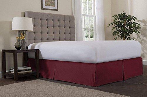 Angel Bedding ! 1500 Series Brushed Microfiber 29 inch Bed Skirts Olympic Queen Size Solid Burgundy - Covers Bed Legs and Frame - Easy Fit - 3 Sided Coverage