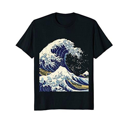 Mens Distressed The Great Wave Hokusai T-Shirt Large Black Hokusai Wave