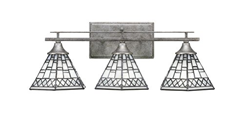 """Toltec Lighting Uptowne 3 Light Bath Bar with 7"""" Pewter Tiffany Glass"""