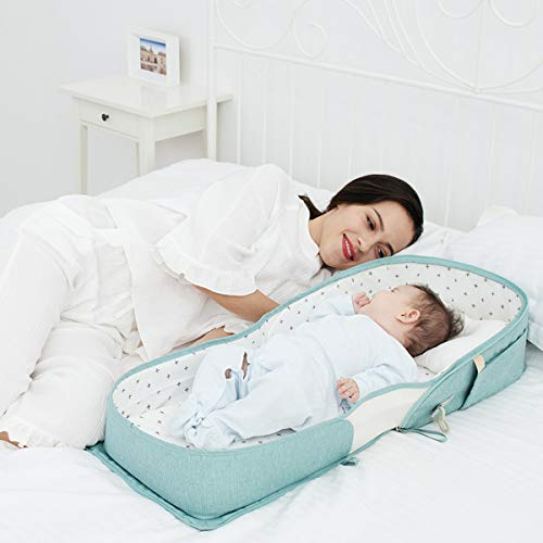Green Playpen and Changing Station for Newborn Babies 0-12 Months Combines Crib SUNVENO Infant Travel Bed Baby Lounger Backpack with Soft Cotton Mattress