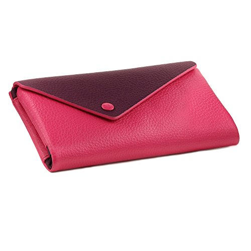 Leather Envelope Wallet - OTTO Genuine Leather Envelope Wallet with Phone Compatible Slots - RFID Blocking - Unisex (Purple & Pink)