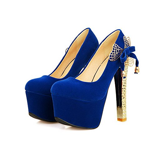 VogueZone009 Women's Pull On Frosted Round Closed Toe High Heels Solid Pumps Shoes Blue 6omwq