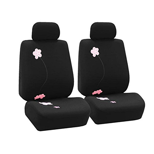 FH Group FB053102 Floral Embroidery Design Pair Bucket Seat Covers, Black w. FREE GIFT-Fit Most Car, Truck, Suv, or Van