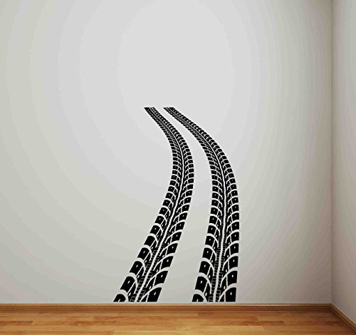 (Tire Track Wall Decal Road Racing Car Vinyl Sticker Gift Race Car Bed Decor Art Poster Mural Print 664)