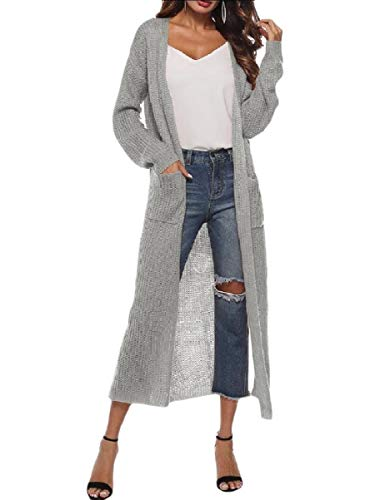 Open Trim Front Grey Split Pocket MogogoWomen Long Knitted Autumn Overcoat wxqftSYnU