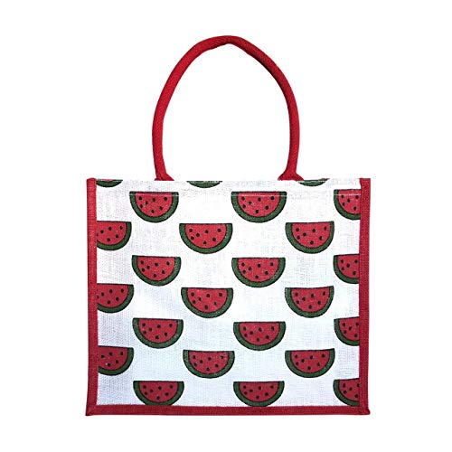Eco-Friendly Reusable Burlap Jute Bag Tote Watermelon Design by Sun Society - For Grocery, Shopping and the Beach -