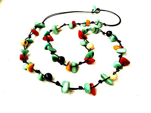 Artesania Karissma Long Tagua Nut Necklace in Multi Color Tag166, Rainbow Organic Necklace in Green, Orange, White, Black, Vegetable Ivory Necklace,