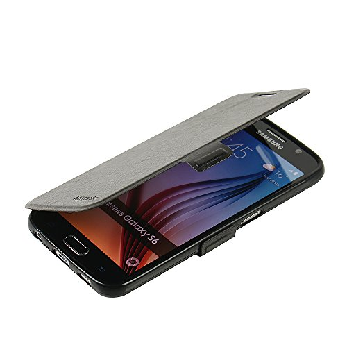 S6 Case, Galaxy S6 Case, MTRONX Magnetic Ultra Folio Flip Slim Premium PU Leather Soft TPU Wallet Case Cover Pouch with Stand and Card Slot for Samsung Galaxy S6 - Black(MSC-BK) - Bk Leather