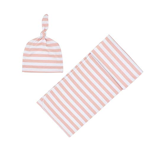 Newborn Baby Swaddle Blanket, Super Soft Stripe Receiving Blanket Matching Beanie, Breathable Blanket Set for Infant Boys and Girls (Pink)