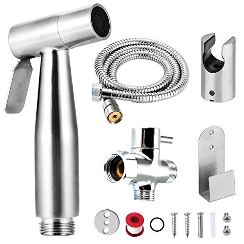 t Sprayer, YECO Premium Stainless Steel Diaper Sprayer Shattaf- Bidet Toilet Sprayer Set (Personal Hygiene & Potty Spray) with Metal Hose,T-Valve,Tank/Wall Mount for Beday Toilet ()