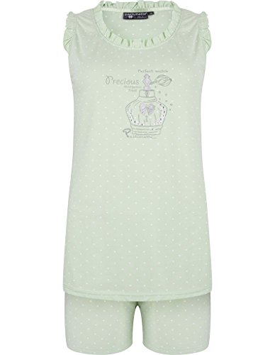 Pastunette 3071-320-2-715 Women's Light Green Perfume Motif Cotton Pyjama Set