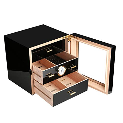 $168.65 daniel marshall humidor YDHAO Humidor Cigar Humidor, Large Capacity can Hold About 50 Cigar Box Cigar cabinets, Glass Window Cedar Wood with humidifier and Hygrometer Cigarette Box Accessories, Men's Gifts Storage Cigar 2019