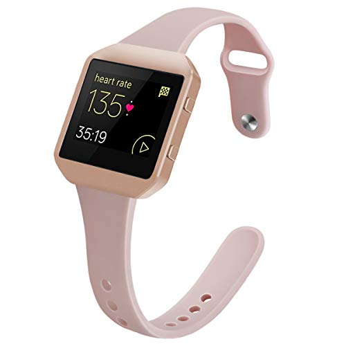 YiJYi Bands Compatible with Fitbit Blaze,Slim Soft Silicone Band with Metal Frame Replacement Strap Wristband for Women Men (Small(5.5