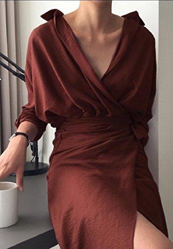 Jaycargogo Sexy Des Femmes De Cou V Profond À Manches Longues Faux Wrap Robe Moulante Midi 2