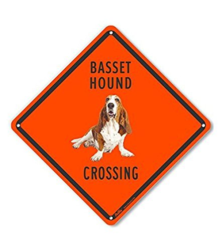 Orange Hounds (PetKa Signs and Graphics PKAC-0548-NP_10x10 Basset Hound Crossing (Orange Back) Plastic Sign, 10