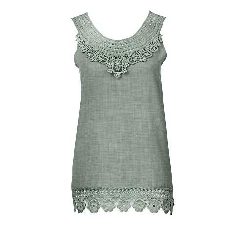 XOWRTE Women's Tops Loose Plus Size Lace Vest O-Neck Tunic Sleeveless Blouse T-Shirt