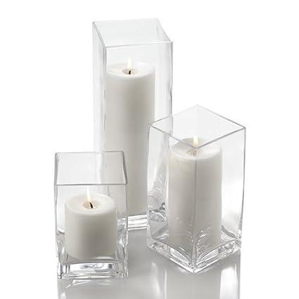 Amazon Set Of 18 Glass Eastland Square Vases 18 White
