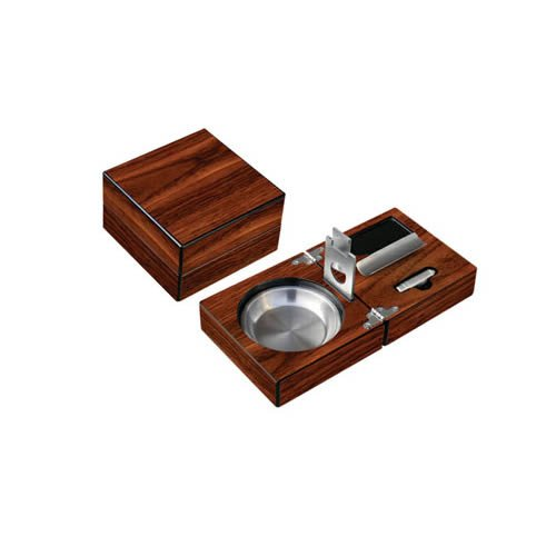 High Gloss Walnut Folding Ashtray Set w/ Accessories. Include Guillotine Cutter, Punch Cutter, Cigar Bed, Stainless Ash Reservoir (4-3/4 W x 4-3/4 D x 3 H)