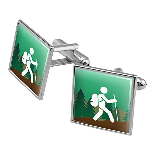 Symbol Cufflinks Silver (Hiker Hiking Symbol Mountain Nature Square Cufflink Set Silver Color)