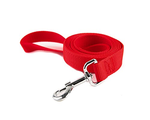 TAIDA Strong Durable Nylon Dog Training Leash, 6 Feet Long, 1 Inch Wide, for Small and Medium Dog (Red)