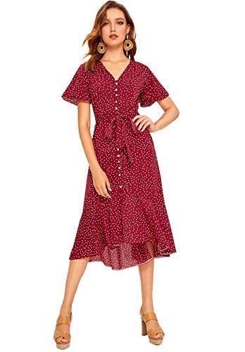 Milumia Women's Boho Button Ruffle Hem Self Tie V Neck Polka Dot Midi Dress Red