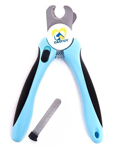 Casfuy Dog Nail Clippers and Trimmer with Safety Guard, Free Nail File, Razor Sharp Blades, Sturdy Non Slip Handles, Buit-in Handle Lock for Small, Medium and Large Breeds by Casfuy